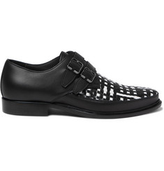 Lanvin Woven Leather Monk-Strap Shoes