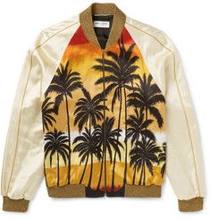 Saint Laurent Palm-Print Satin Souvenir Jacket