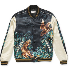 Saint Laurent - Printed Satin Varsity Jacket