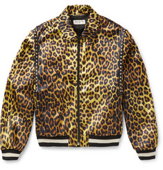 Saint Laurent - Leopard-Print Satin Harrington Jacket