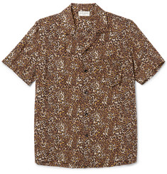 Saint Laurent - Camp-Collar Leopard-Print Crepe Shirt