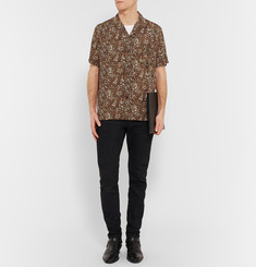 Saint Laurent Camp-Collar Leopard-Print Crepe Shirt