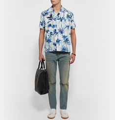 Saint Laurent Palm-Tree Print Cotton Shirt