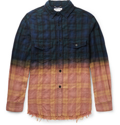 Saint Laurent Distressed Checked Cotton-Blend Shirt