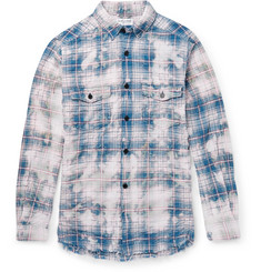 Saint Laurent - Bleached Checked Stretch Cotton-Blend Shirt