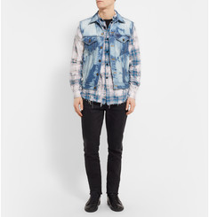 Saint Laurent Bleached Checked Stretch Cotton-Blend Shirt