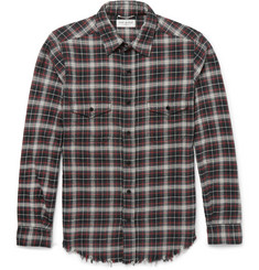 Saint Laurent - Slim-Fit Distressed Checked Cotton-Flannel Shirt