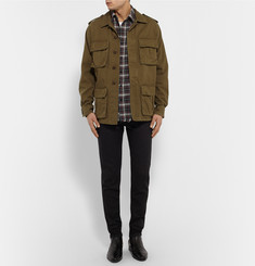 Saint Laurent Slim-Fit Distressed Checked Cotton-Flannel Shirt