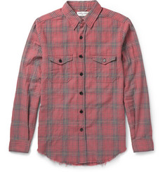 Saint Laurent Slim-Fit Raw Hem Checked Cotton-Blend Shirt