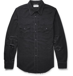 Saint Laurent - Slim-Fit Distressed Denim Western Shirt