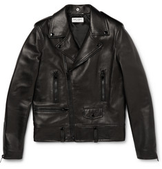Saint Laurent - Slim-Fit Leather Biker Jacket