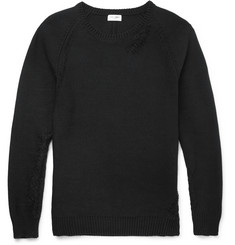 Saint Laurent Distressed Cotton-Blend Sweater