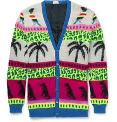 Saint Laurent - Intarsia Mohair-Blend Cardigan