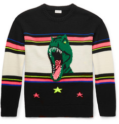 Saint Laurent Dinosaur-Intarsia Wool-Blend Sweater