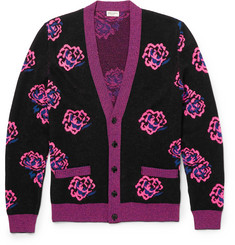 Saint Laurent Rose-Jacquard Wool-Blend Cardigan