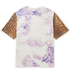 Saint Laurent - Tie-Dyed and Leopard-Print Cotton T-Shirt