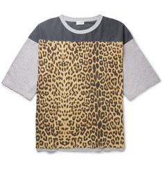 Saint Laurent Oversized Leopard Print Panelled Cotton T-Shirt