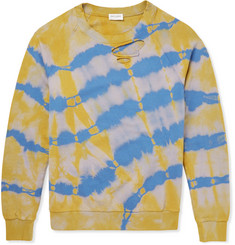 Saint Laurent Distressed Tie-Dyed Cotton Sweatshirt