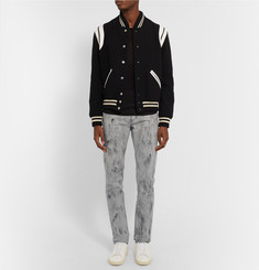 Saint Laurent Skinny-Fit Marble-Print Stretch-Denim Jeans