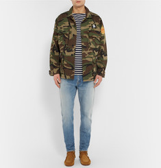 Saint Laurent Skinny-Fit Faded Washed-Denim Jeans