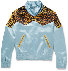 Saint Laurent Leopard-Print Panelled Satin Bomber Jacket