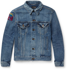Saint Laurent - Appliquéd Distressed Denim Jacket