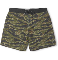 Saint Laurent Tiger-Print Mid-Length Shell Swim Shorts