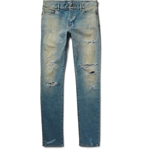 Saint Laurent - Skinny-Fit 16cm Hem Distressed Washed Stretch-Denim Jeans