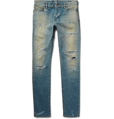 Saint Laurent Skinny-Fit 16cm Hem Distressed Washed Stretch-Denim Jeans