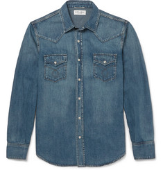 Saint Laurent - Slim-Fit Washed-Denim Western Shirt
