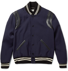 Saint Laurent Leather-Trimmed Wool Bomber Jacket
