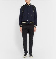 Saint Laurent Leather-Trimmed Wool Varsity Jacket