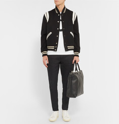 Saint Laurent - Leather-Trimmed Wool Varsity Jacket