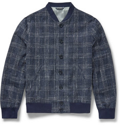 Richard James - Slim-Fit Checked Cotton, Silk and Linen-Blend Bomber Jacket