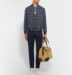 Richard James Slim-Fit Checked Cotton, Silk and Linen-Blend Bomber Jacket