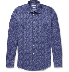 Richard James - Slim-Fit Printed Stretch-Cotton Poplin Shirt