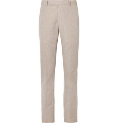 Richard James - Stone Linen and Cotton-Blend Suit Trousers