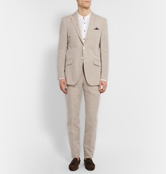 Richard James Stone Linen and Cotton-Blend Suit Trousers