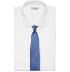 Richard James Parrot- Embroidered Silk Tie