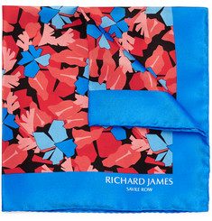 Richard James - Lively Leaves Printed Silk Pocket Square