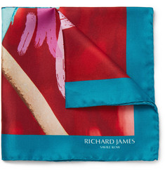 Richard James Kingfisher-Print Silk-Twill Pocket Square