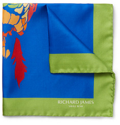 Richard James Parrot-Print Silk-Twill Pocket Square