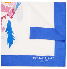 Richard James Parrot-Print Silk Pocket Square