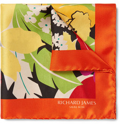 Richard James - Floral-Print Silk-Twill Pocket Square