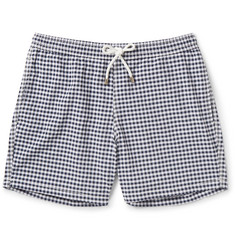 Hartford Slim-Fit Gingham Mid-Length Swim Shorts