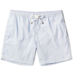 Hartford Slim-Fit Striped Seersucker Mid-Length Swim Shorts