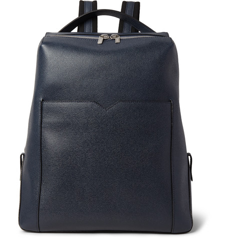 valextra male 236621 valextra pebblegrain leather backpack navy