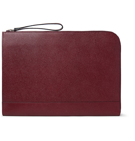 valextra male 215965 valextra pebblegrain leather portfolio burgundy