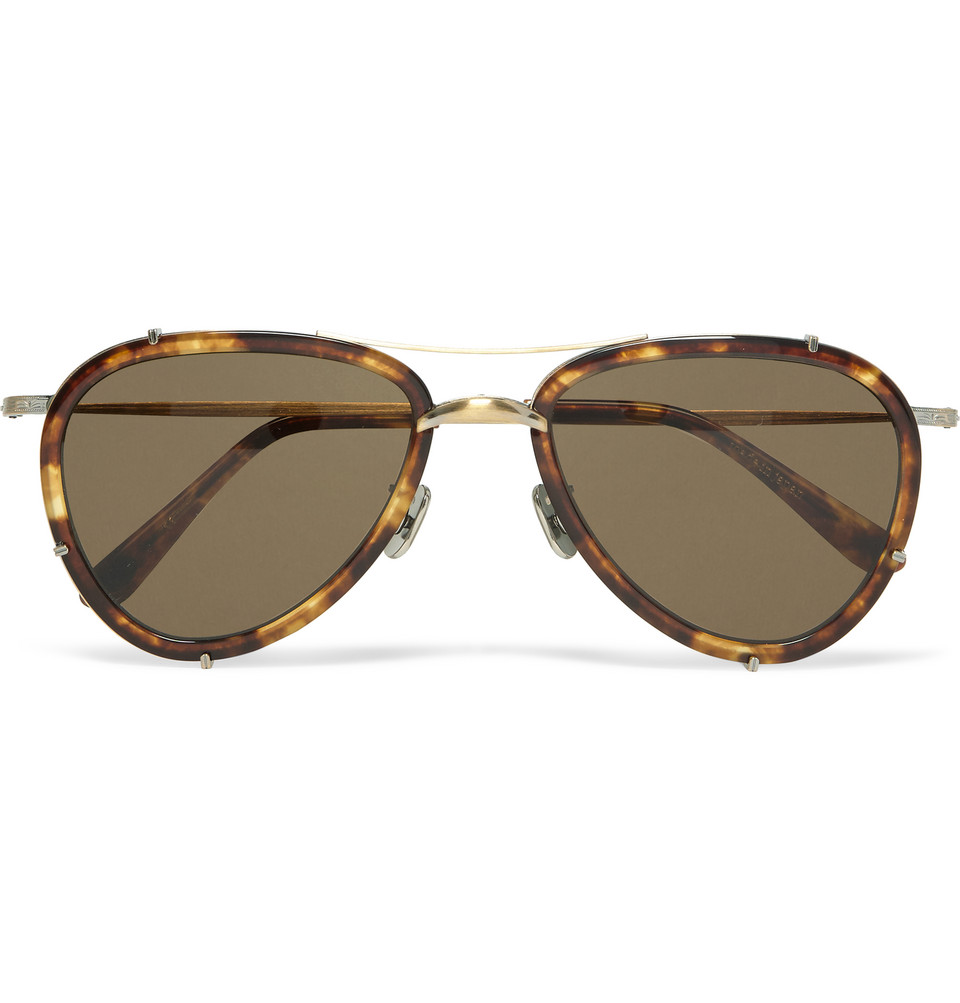 Aviator Style Tortoiseshell Acetate Polarised Sunglasses Brown
