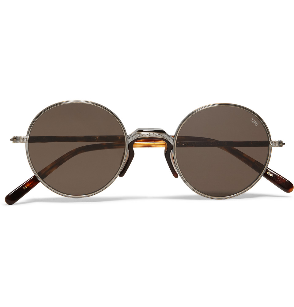 Round Frame Metal and Tortoiseshell Acetate Sunglasses Silver